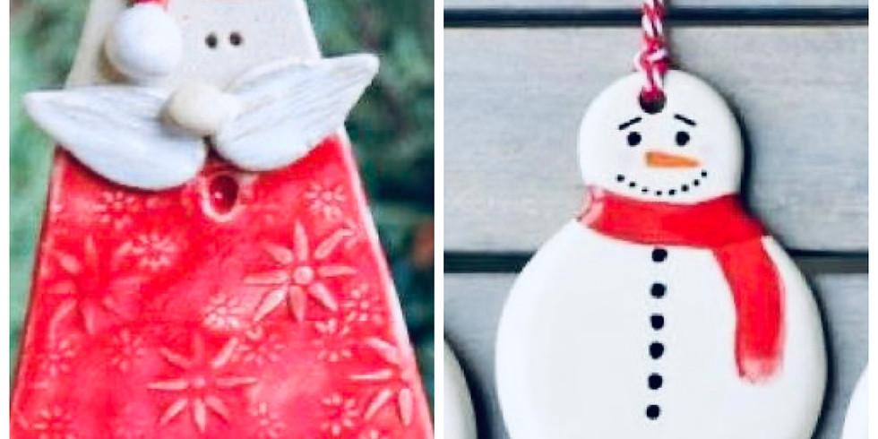 Clay Santa and Snowman