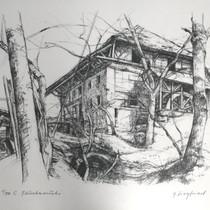 Lithografie von Gottfried Siegfried, Gümmenen