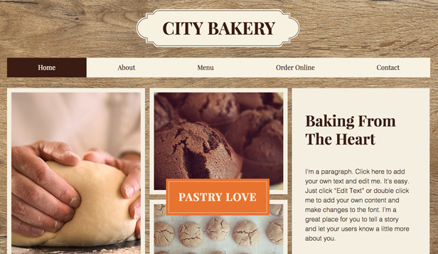 Restaurants en eten website templates – Stadsbakkerij