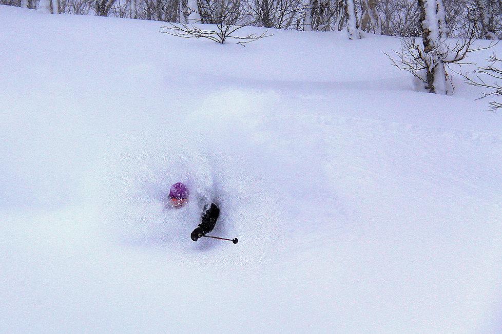 Powder skiing in Niseko area in Japan