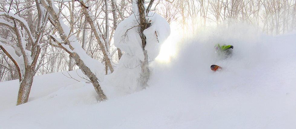 Freeride snowboarding in Hokkaido, Japan