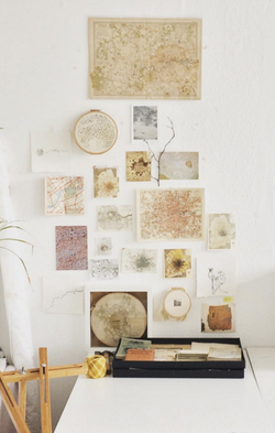 Map collage, studio wall