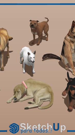 Componentes   7 modelos 3D con perros