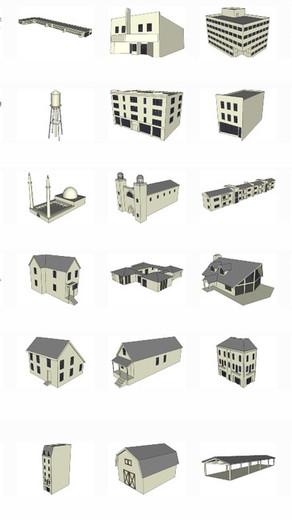 Componentes con Edificios genéricos low poly