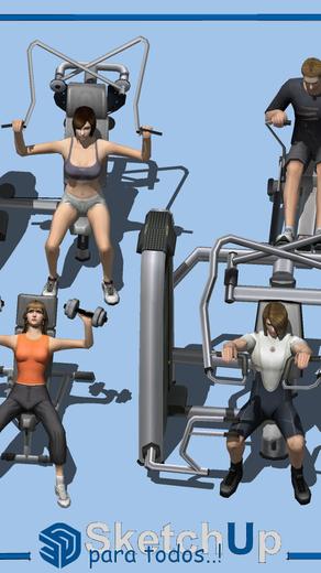 Componentes   4 personas ejercitándose en el gimnasio
