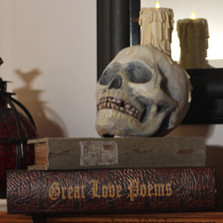 Skull & Book Candle