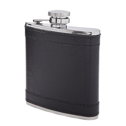 Franmara Stainless Steel Flask with Black Leather Suede