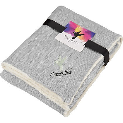 Field & Co. Cable Knit Sherpa Blanket with Card