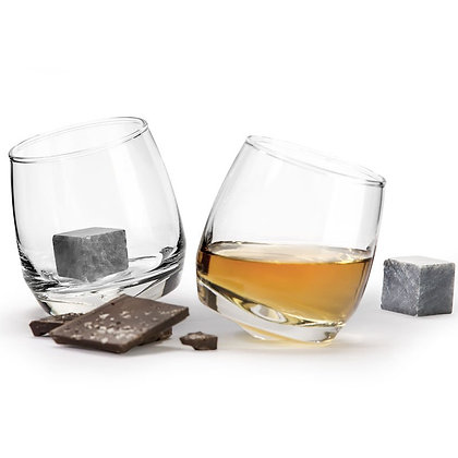 Sagaform Rocking Tumbler Glass & Drink Stone Set