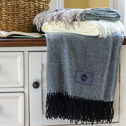 Herringbone Throw with Fringes