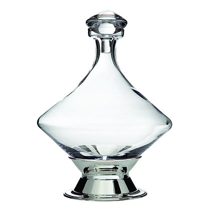 Franmara Orbital Decanter with Silver Plated Base and Crystal Stopper