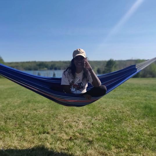 Work call in a hammock