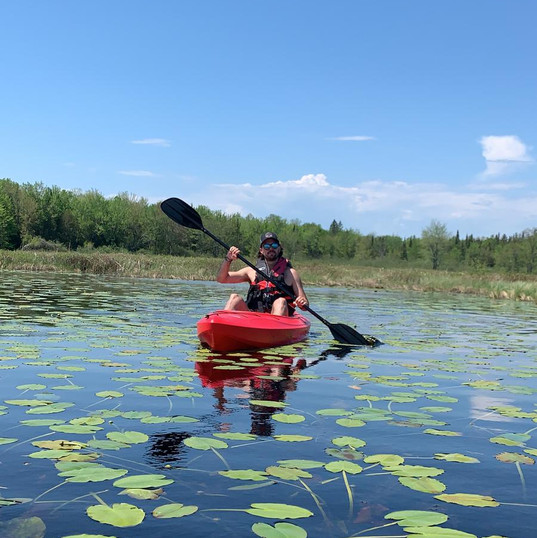 Kayaking within the lilypads