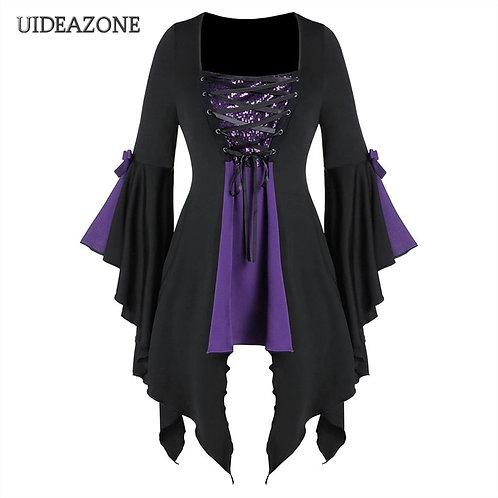 Gothic Dress Black & Purple, white, red