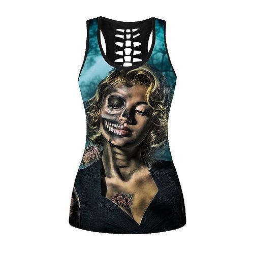 Black Digital Girl Printing Streetwear Vest For Women Gothic Summer Slim Sleevel