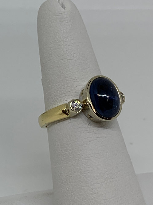 14k Yellow Gold Cabochon Blue Sapphire and Diamond Ring