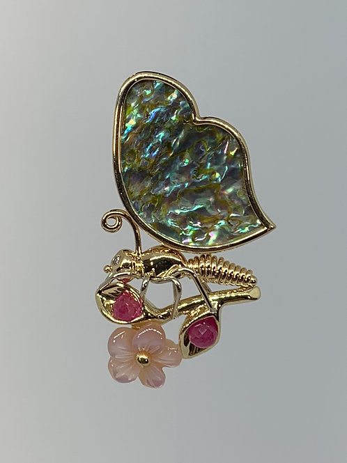 14k YellowGold Mother of Pearl Butterfly Pendant