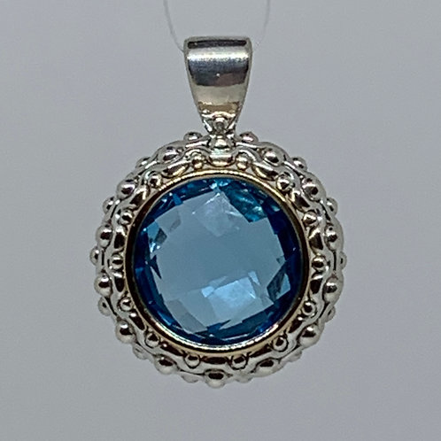 14k Yellow Gold and Sterling Silver Blue Topaz Pendant