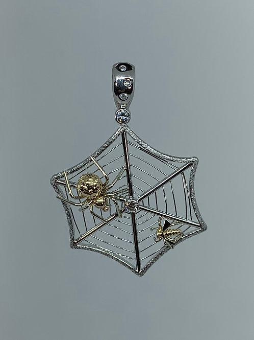 14k White and Yellow gold Spider Web with Diamond Pendant