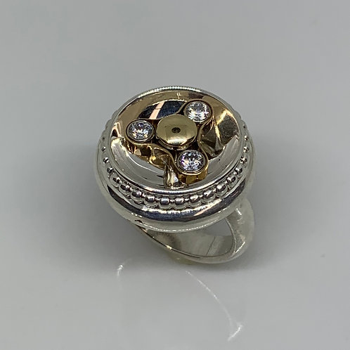 14k Yellow Gold and Sterling Silver Figit Spinner Ring
