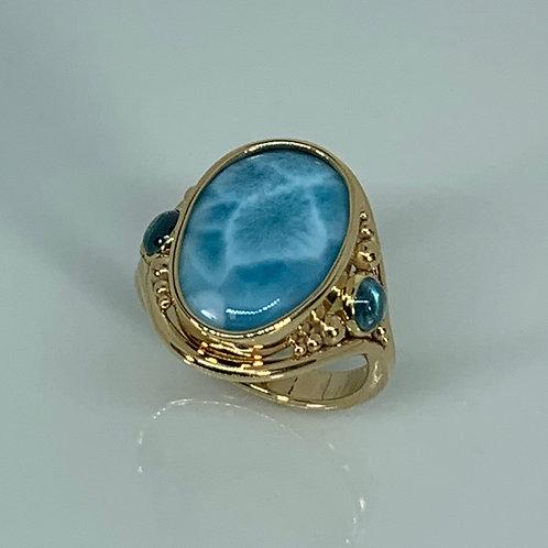 14k Yellow Gold Larimar and Blue Zircon Ring
