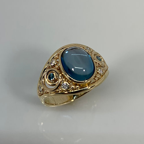 14k Blue Topaz with Blue and White Diamond Ring