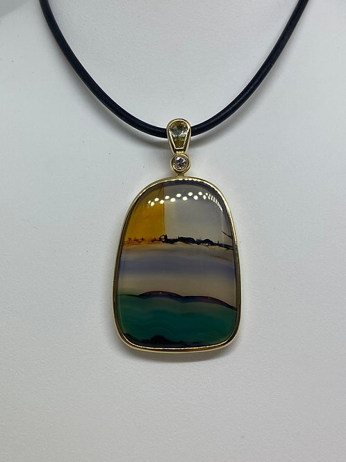 14k Yellow Gold, Agate, Citrine and Diamond Pendant