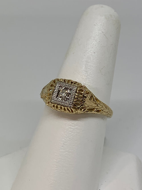 14k Yellow Gold Diamond Antique Ring