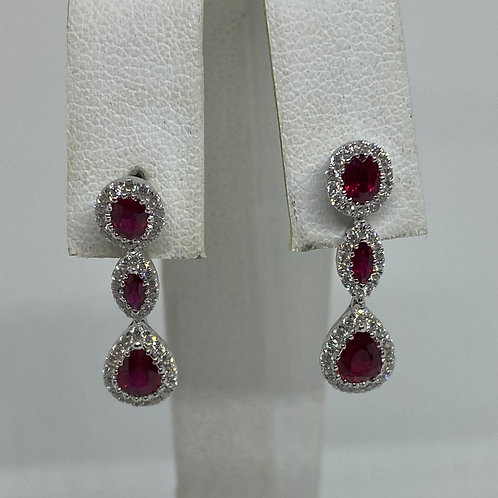 18k White Gold, Ruby and Diamond Earring