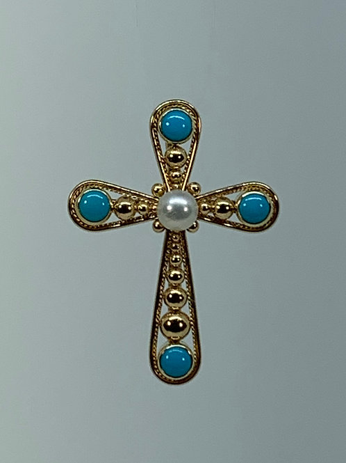 14k Pearl and Turquoise Cross Pendant