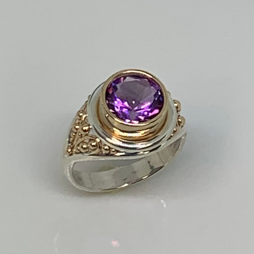 Sterling Silver and 14k Yellow Gold Amethyst Filigree Ring
