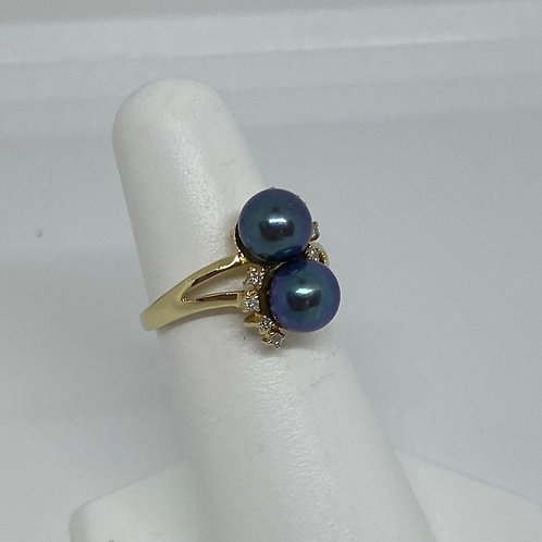 14k Yellow Gold, Pearl and Diamond Ring