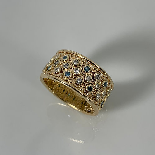 14k Yellow Gold Blue and White Diamond Ring
