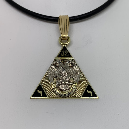 14k Two Toned Masonic Pendant