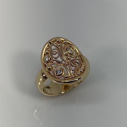 14k Yellow Gold Diamond Filigree Ring
