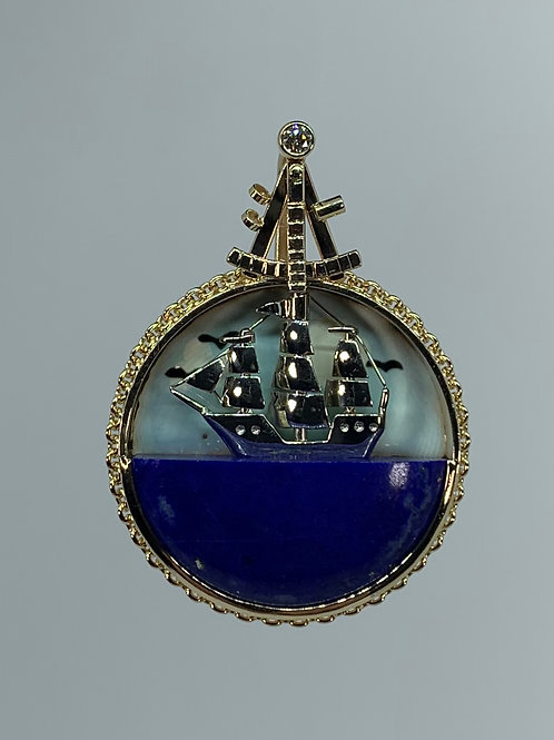 14k Sailing Ship with Lapis and Enamel Pendant