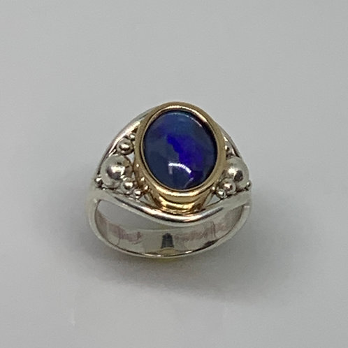 Sterling Silver and 14k Yellow Gold Opal Ring