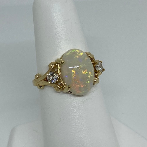 14k Yellow Gold, Opal and Diamond Ring