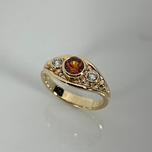 14k Yellow Gold Spessartite and Diamond Ring