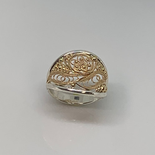 Sterling Silver and 14k Yellow Gold Filigree Ring