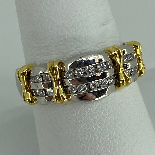 Platinum and 18k yellow gold Gents Diamond Band