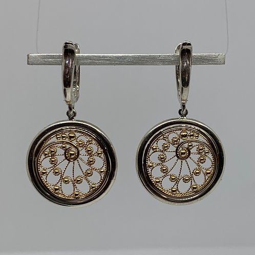 Sterling Silver and 14K yellow Gold Filigree Earrings