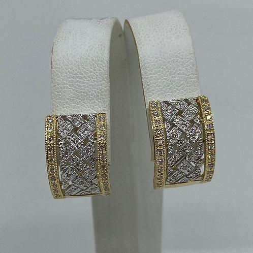14k Yellow Gold and 14k White Gold Diamond Earrings