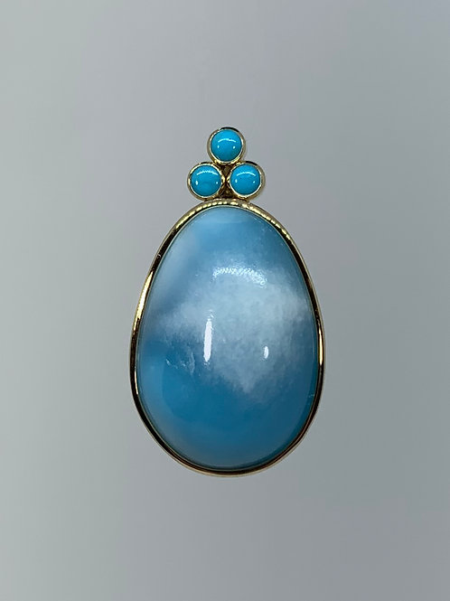 14k Yellow Gold Larimar and Turquoise Pendant