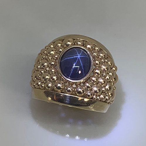14k Yellow Gold Star Sapphire Ring