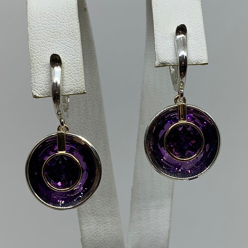 14k Yellow Gold and Sterling Silver Amethyst Earrings