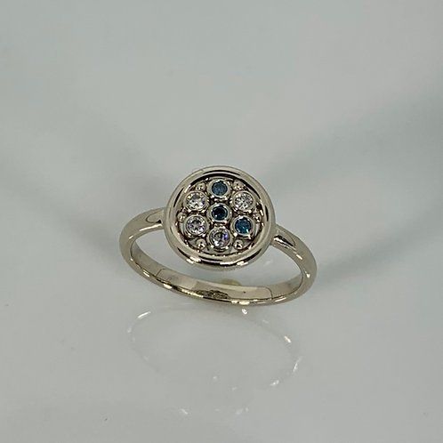 14k Blue and White Diamond Ring