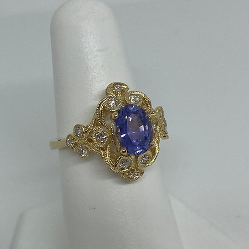 14k Yellow Gold, Silver Ceylon Sapphire and Diamond Ring