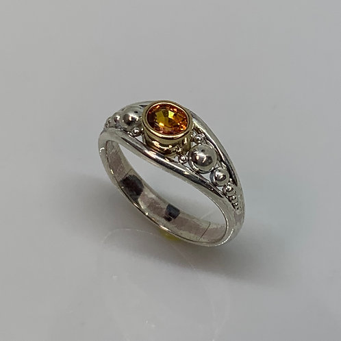 Sterling Silver and 14k Yellow Gold Orange Sapphire Ring