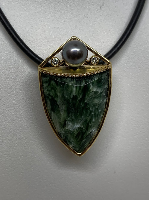 14k Yellow Gold Seraphinite with Pearl and Diamond Pendant